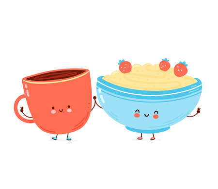 Cute happy bowl of oatmeal porridge and coffee cup. Isolated on white background. Vector cartoon character hand drawn style illustration. Oat breakfast cup concept