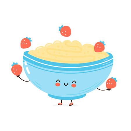 Cute happy bowl of oatmeal porridge juggle strawberry. Isolated on white background. Vector cartoon character hand drawn style illustration. Oat breakfast cup concept