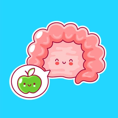 Cute happy funny human intestine organ and speech bubble with apple. Vector flat line cartoon kawaii character illustration icon. Digestive tract concept