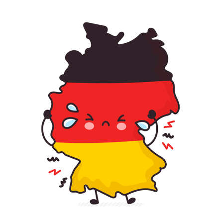 Cute sad funny Germany map and flag character. Vector flat line cartoon kawaii character illustration icon. Isolated on white background. Germany concept