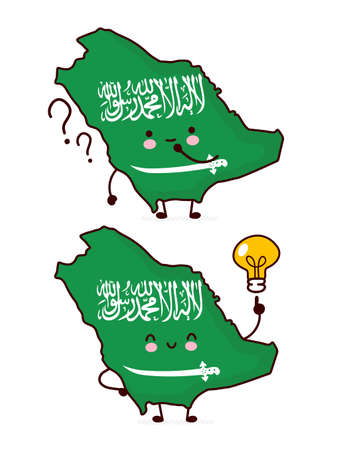 Cute happy funny Saudi Arabia map and flag character with question mark and lightbulb. Vector flat line cartoon kawaii character illustration icon. Isolated on white background. Saudi Arabia concept