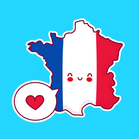 Cute happy funny France map and flag character with heart in speech bubble. Vector flat line cartoon kawaii character illustration icon. France concept