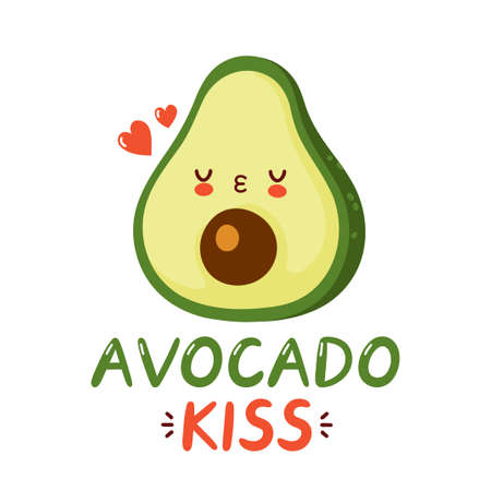 Cute happy funny avocado and hearts. Vector cartoon character hand drawing style illustration. Isolated on white background. Avocado kiss print