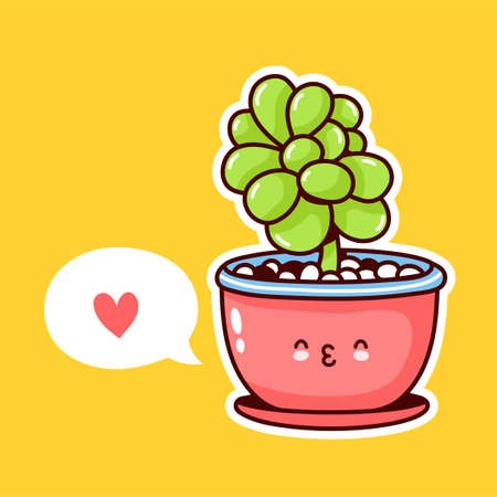 Cute happy funny plant in pot with speech bubble. Vector flat cartoon kawaii character illustration icon design. Succulents love concept