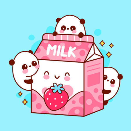Cute happy funny flavored strawberry milk and playing pandas. Vector flat line cartoon kawaii character illustration icon. Isolated on white background Illusztráció