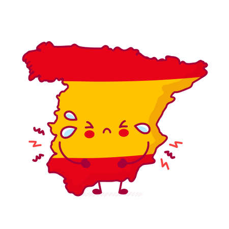 Cute sad funny Spain map and flag character. Vector flat line cartoon kawaii character illustration icon. Isolated on white background. Spain concept