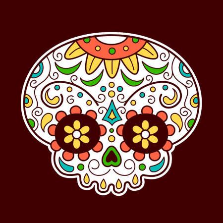 Mexican sugar skull. Vector flat line cartoon character illustration icon. Skull t-shirt print design