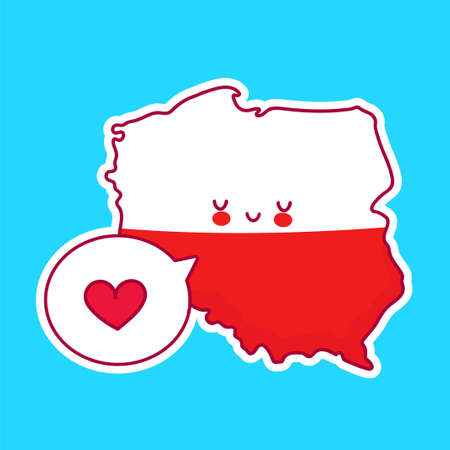 Cute happy funny Poland map and flag character with heart in speech bubble. Vector flat line cartoon kawaii character illustration icon. Poland concept