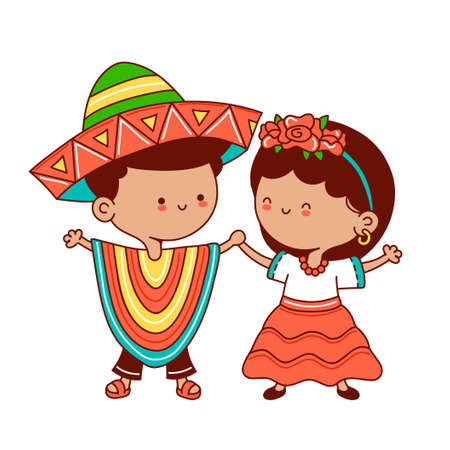 Kids in traditional mexican costume. Vector flat line cartoon kawaii character illustration icon. Isolated on white background. Mexican boy and girl concept Vetores