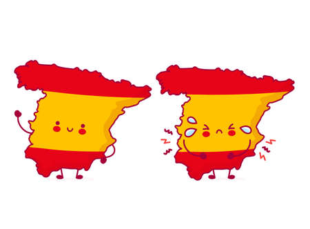 Cute happy and sad funny Spain map and flag character. Vector flat line cartoon kawaii character illustration icon. Isolated on white background. Spain concept