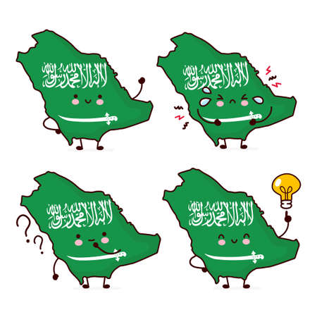 Cute happy funny Saudi Arabia map and flag character. Vector flat line cartoon kawaii character illustration icon. Isolated on white background. Saudi Arabia concept Illusztráció