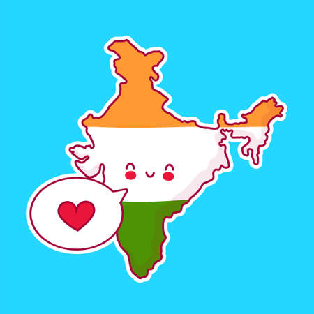 Cute happy and sad funny India map and flag character with heart in speech bubble. Vector flat line cartoon kawaii character illustration icon. India concept Illusztráció