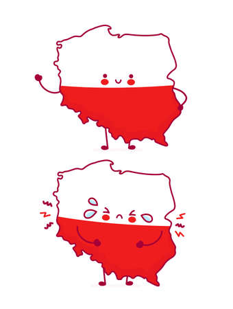 Cute happy and sad funny Poland map and flag character. Vector flat line cartoon kawaii character illustration icon. Isolated on white background. Poland concept Illusztráció