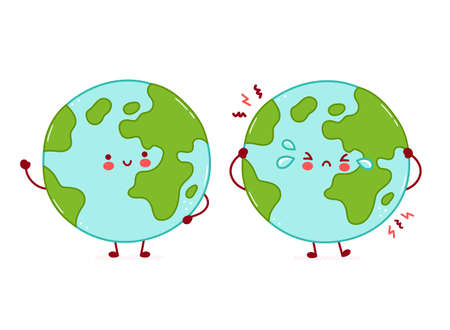 Cute happy and sad funny Earth planet character. Vector cartoon character illustration icon design. Isolated on white background
