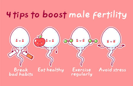 4 tips to boost male fertility. Cute happy funny sperm cell. Vector flat line cartoon kawaii character illustration icon. Fertilization concept
