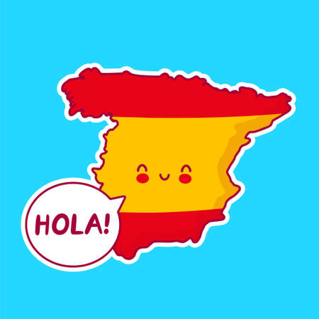 Cute happy funny Spain map and flag character with Hola word in speech bubble! Vector flat line cartoon kawaii character illustration icon. Spain concept