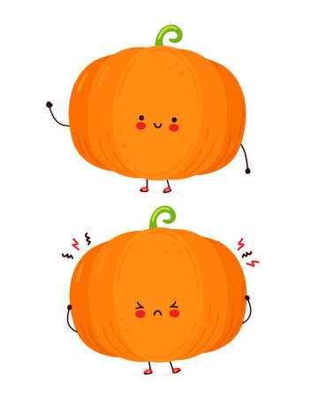 Cute happy and sad funny pumpkin. Isolated on white background. Vector cartoon character hand drawn style illustration