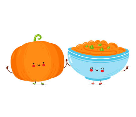 Cute happy funny pumpkin and porridge cup. Isolated on white background. Vector cartoon character hand drawn style illustration
