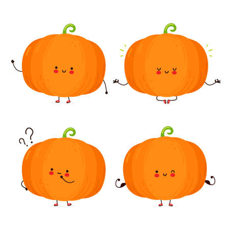 Cute happy funny pumpkin set collection. Isolated on white background. Vector cartoon character hand drawn style illustration Vectores