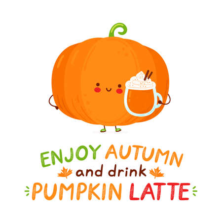 Cute happy funny pumpkin with latte mug. Isolated on white background. Vector cartoon character hand drawn style illustration. Enjoy autumn and drink pumpkin latte card