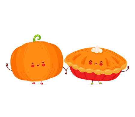 Cute happy funny pumpkin and pie. Isolated on white background. Vector cartoon character hand drawn style illustration
