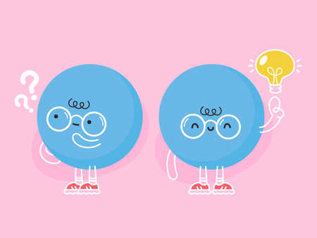 Cute funny blue ball with question mark and idea lightbulb. Vector flat cartoon kawaii character illustration icon design Ilustração