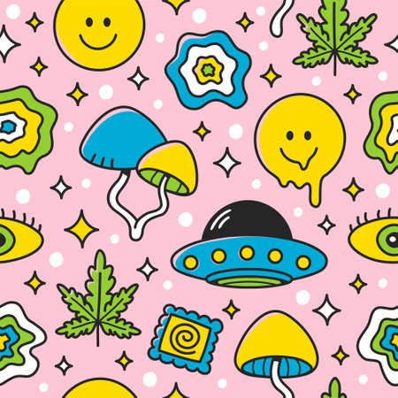 Psychedelic seamless pattern. Vector flat cartoon kawaii character illustration icon design.  Trippy pattern concept Ilustração