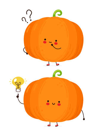 Cute happy funny pumpkin with question mark and idea lightbulb. Isolated on white background. Vector cartoon character hand drawn style illustration