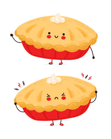 Cute happy and sad funny homemade pie. Isolated on white background. Vector cartoon character hand drawn style illustration Vectores