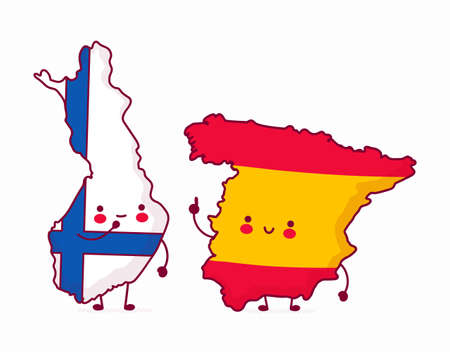 Cute happy funny Spain talk to Finland. Vector flat line cartoon kawaii character illustration icon. Isolated on white background