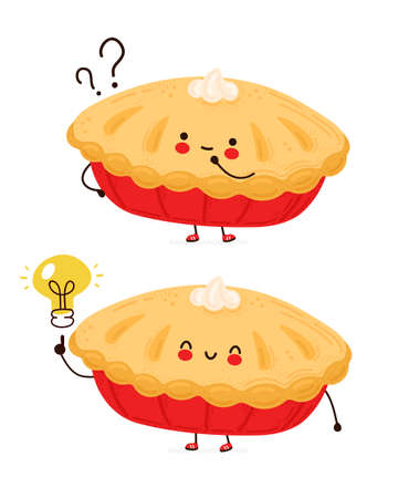 Cute happy funny homemade pie with question mark and idea lightbulb. Isolated on white background. Vector cartoon character hand drawn style illustration
