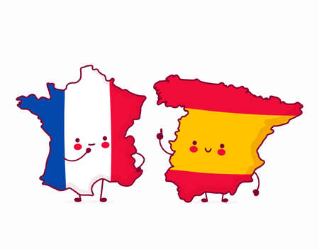 Cute happy funny Spain talk to France. Vector flat line cartoon kawaii character illustration icon. Isolated on white background
