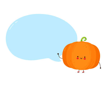 Cute happy funny pumpkin with speech bubble. Isolated on white background. Vector cartoon character hand drawn style illustration Ilustração