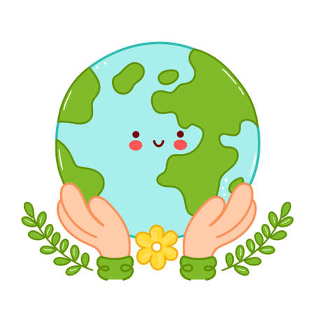 Hands hold cute happy funny Earth planet character. Vector cartoon character illustration icon design. Isolated on white background