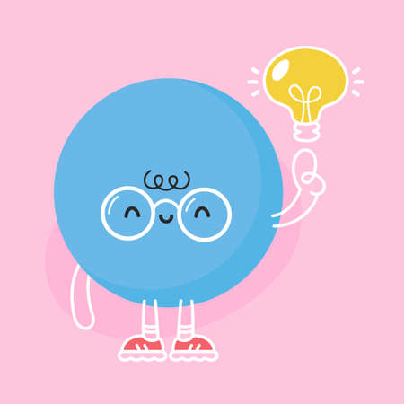 Cute funny blue ball with with idea light bulb. Vector flat cartoon kawaii character illustration icon design Vectores