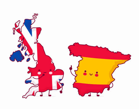 Cute happy funny Spain talk to United Kingdom. Vector flat line cartoon kawaii character illustration icon. Isolated on white background Vectores