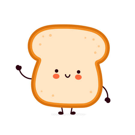 Cute funny bread toast character. Vector flat line cartoon kawaii character illustration icon. Isolated on white background. Toast with face character mascot concept Vetores