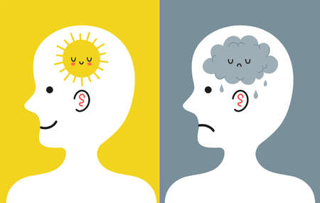Cute human head in profile with sun and rain cloud inside. Good and bad mood, mental, emotional condition concept. Vector cartoon character illustration icon