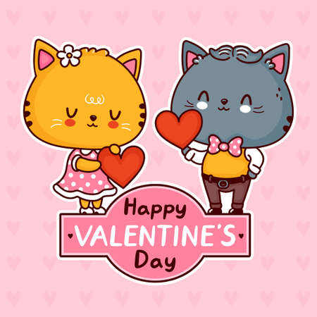 Cute funny cats couple with hearts. Happy valentines day card. Vector flat line cartoon kawaii character illustration icon. Valentines day cats gift hearts concept