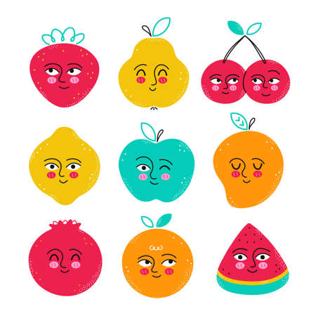 Cute funny fruits character set. Vector flat cartoon kawaii character hand drawn illustration icon. Isolated on white background. Strawberry,pomegranate,pear,cherry,lemon,watermelon,orange,mango,apple