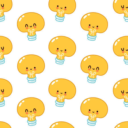 Cute funny Light bulb seamless pattern. Vector flat cartoon kawaii character illustration icon design. Light bulb face character seamless pattern concept. Isolated on white background Illustration