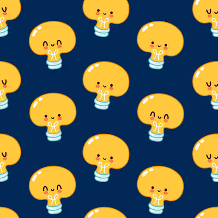 Cute funny Light bulb seamless pattern. Vector flat cartoon kawaii character illustration icon design. Light bulb face character seamless pattern concept Illustration