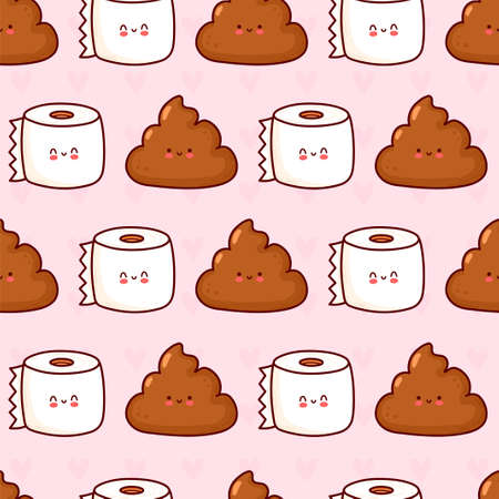 Cute funny poop and toilet paper seamless pattern. Vector flat cartoon kawaii character illustration icon design. Poop and toilet paper character seamless pattern concept Illustration