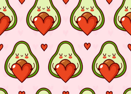 Cute funny avocado with heart seamless pattern. Vector flat cartoon kawaii character illustration icon design. Avocado present heart character seamless pattern concept