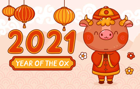 Chinese new year 2021 year of the ox. Vector kawaii cartoon line character illustration banner. New Year 2021, bull, ox concept