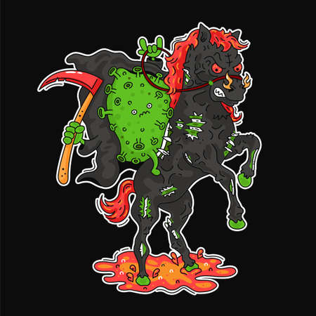 Funny angry corona virus ride on hell horse. Vector line cartoon character illustration poster print. Coronavirus, covid-19 concept Illustration