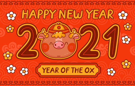 Chinese new year 2021 year of the ox. Vector kawaii cartoon line character illustration banner. New Year 2021, bull, ox poster, card concept
