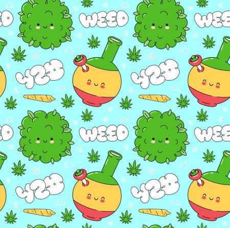 Weed marijuana seamless pattern. Vector flat cartoon kawaii character illustration icon design. Trippy,weed, 420 pattern concept Ilustração
