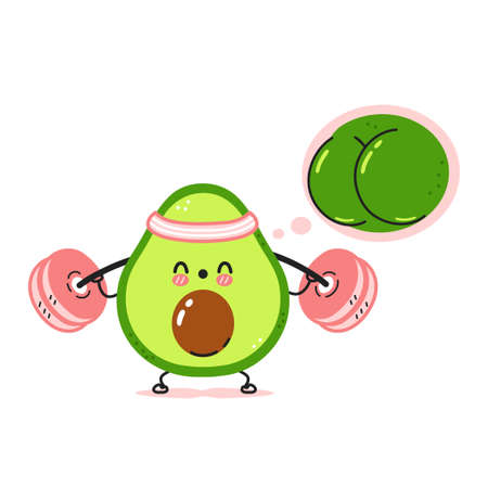 Cute funny avocado make squat gym with barbell and dream about strong butt. Vector cartoon kawaii character illustration icon. Isolated on white background. Avocado fruit workout character concept