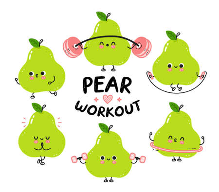 Cute funny green pear make gym set collection. Vector flat line cartoon kawaii character illustration icon. Isolated on white background. Pear fruit workout character bundle concept